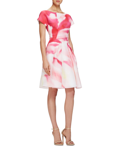 Pleated Watercolor-Print Cocktail Dress
