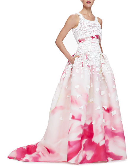 Painted Crop-Top Full-Skirt Gown