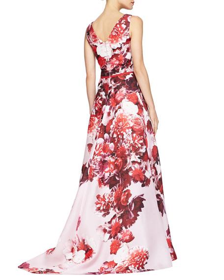 Sleeveless Floral-Print V-Neck Gown