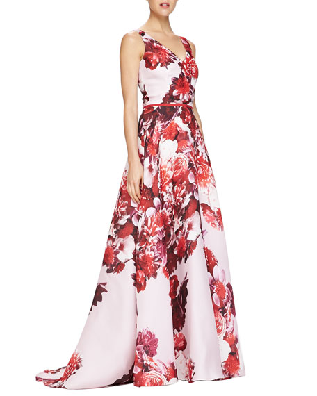 3a1a74496251f Carolina Herrera Sleeveless Floral-Print V-Neck Gown