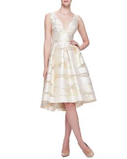 Taffeta Burnout Full-Skirt Dress