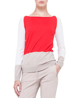 Colorblock Boat-Neck Wool Sweater, Rouge/Creme/Corde
