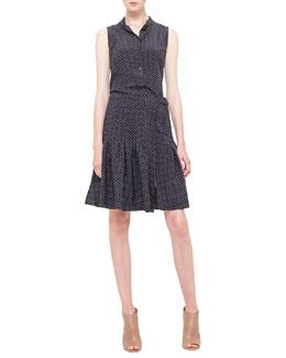 Polka-Dot Pleated Silk Dress, Noir/Creme