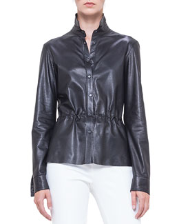 Perforated Napa Leather Drawstring Shirt, Noir