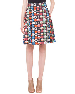 Box-Pleated Record-Print Skirt