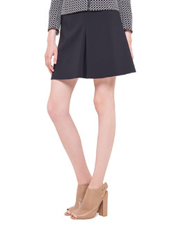 Godet Techno-Fabric Short Skirt, Noir