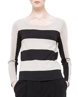 Bold-Stripe Wool Sweater, Noir/Corde