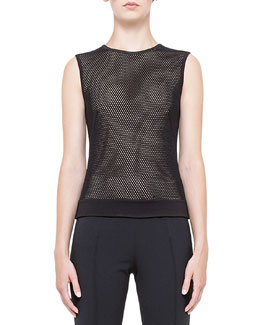 Jersey Mesh Back-Zip Tank Top, Noir