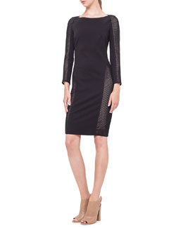 Mesh-Inset Jersey Dress, Noir