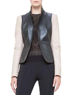 Colorblock Napa Leather Jacket, Noir/Corde