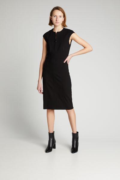 Cap-Sleeve Zip-Front Seamed Dress  Black