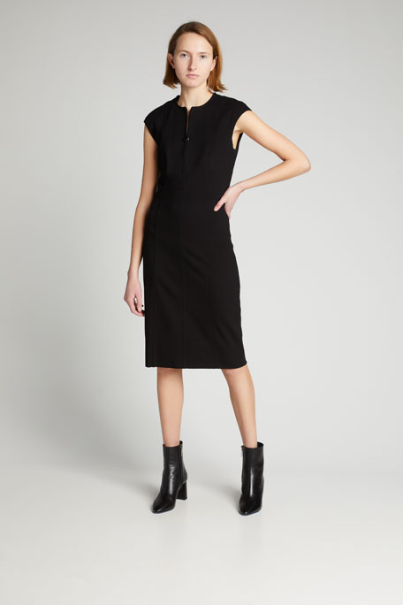 Cap-Sleeve Zip-Front Seamed Dress, Black