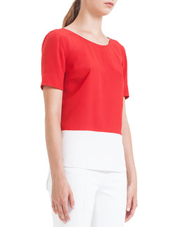 Colorblock Pleated Silk Blouse, Rouge/Creme
