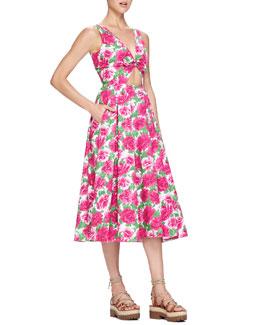Peony-Print Front-Cutout Dress, White/Geranium Pink