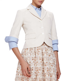 Half-Sleeve Cotton/Silk Blazer