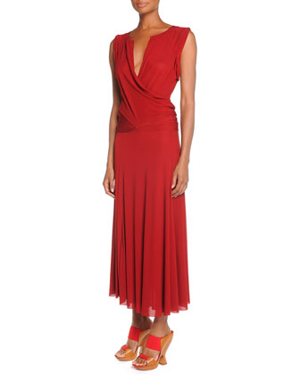 Donna Karan Drape-Front Drop-Waist Dress, Brick Red