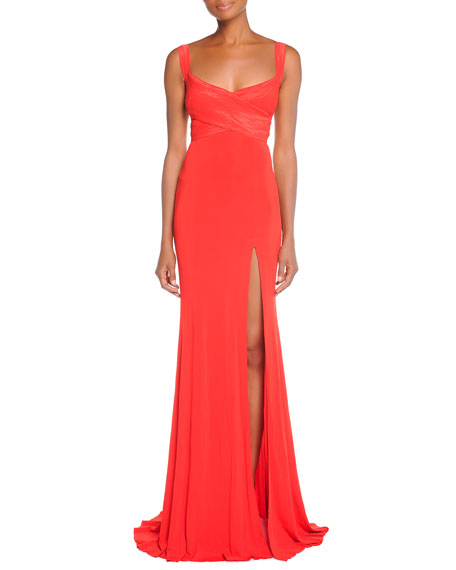 Cross-Front Exposed-Back Gown