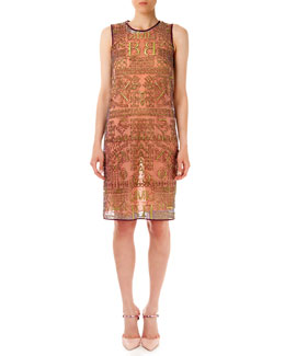 Midas Glitter Letter-Print Dress, Gold