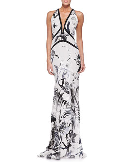Tropical Floral-Print Gown, White/Black