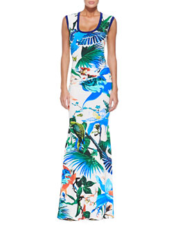 Knit-Trim Tropical Floral-Print U-Neck Gown