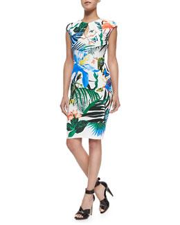 Alize-Print Keyhole Sheath Dress