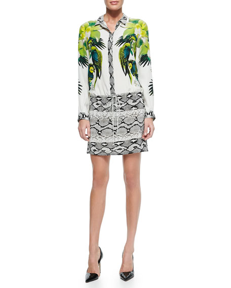 Mixed-Print Tie-Waist Shirtdress, St. Barth/Python-Print