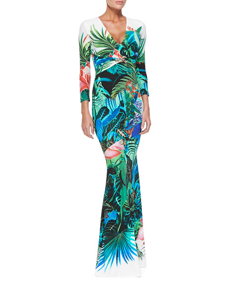 Mustique Tropical Floral-Print 3/4-Sleeve Gown