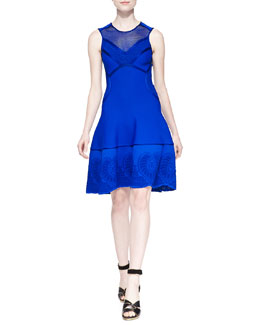 Mesh-Inset Embroidered Scuba-Knit Dress, Blue