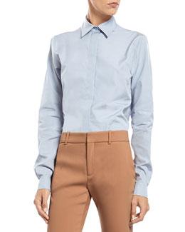 Blue Cotton Poplin Straight Shirt