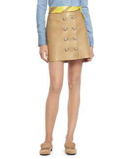 Camel Leather Skirt