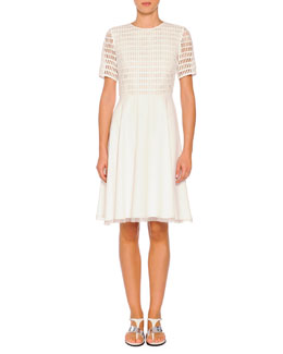 Grid Macrame Organza-Trimmed Dress, White