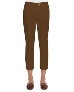 Giles Flat-Front Poplin Pants, Ginger Brown