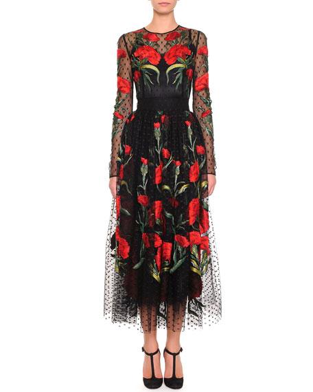 Long-Sleeve Point d'Esprit Carnation Dress, Black