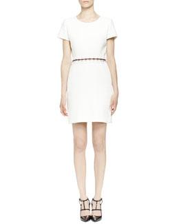 Pierced-Waist Dress, Ecru