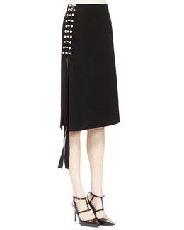 Pearly Pierced Midi Skirt
