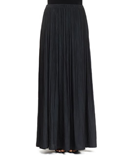 Long Pleated Washed Satin Skirt