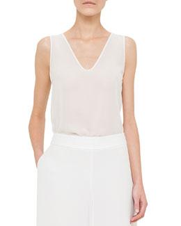 Scoop-Neck Bicolor Top, White/Nude