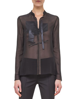Mock-Neck Shimmer-Applique Blouse, Black