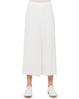 Overlay Wide-Leg Ankle Pants, White