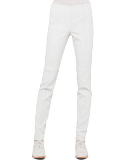 Napa Stretch-Leather Slim Pants, Silver
