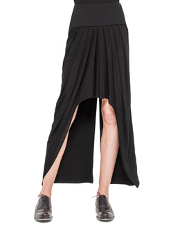 Pleated High-Low Zip-Detail Skirt, Black
