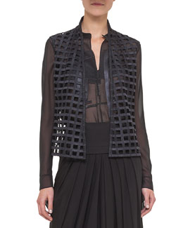 Open Square-Embroidered Vest, Black