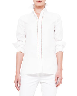 Long-Sleeve Hemstitch-Front Blouse