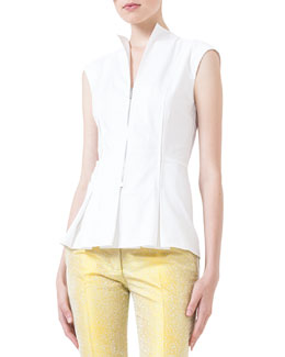 Zip-Front Seamed Blouse, Creme