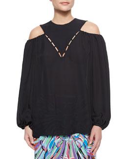 Blouson-Sleeve Cutout Top, Black
