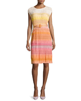 Ombre Textured Knit Belted Dress, Orange