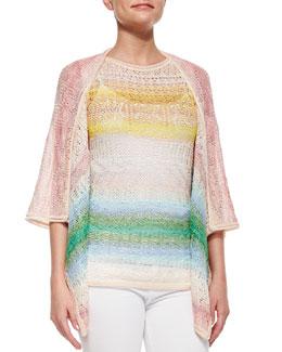 Ombre Striped Crochet Cardigan