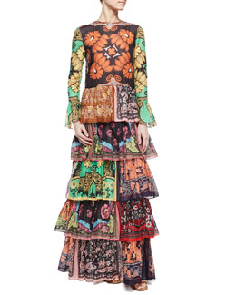 Patchwork-Print Ruffle-Tiered Dress