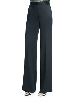 Wide-Leg Trousers W/ Satin Back