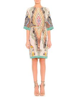 Feather-Print Silk Dress with Belt